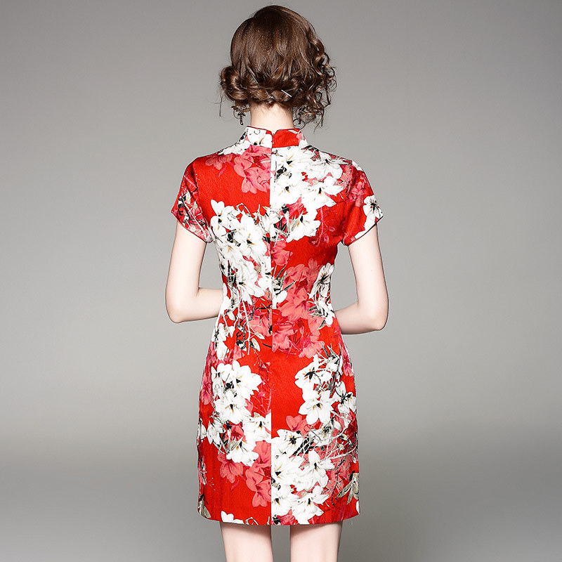 Supérieure Robe Courte De Qualité Hanche Rouge Manches Paquet Courtes Robes À Sexy Mince Xxl Femme Imprimer New Vêtements Élégant Crayon Printemps Partie BcSpqSY