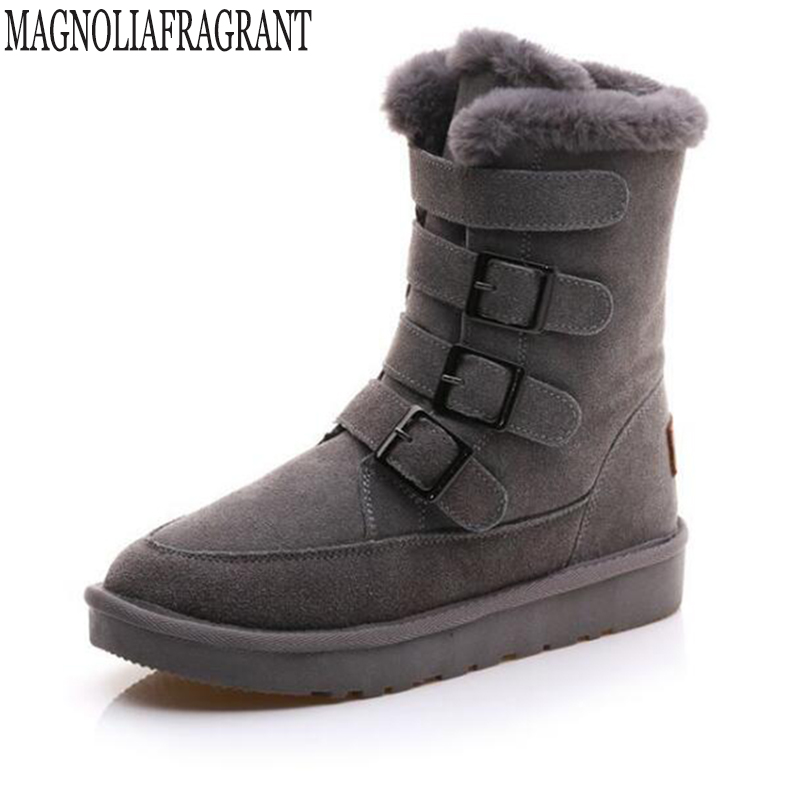 Hot Sale Shoes Women Boots Genuine Leather Women Snow Boots Round Toe Flat with Winter Fur Ankle Boots Cotton shoes k514 2016 hot sale male snow boots genuine leather ankle suede snow boots winter shoes for men and women mens boot shoe 35 48