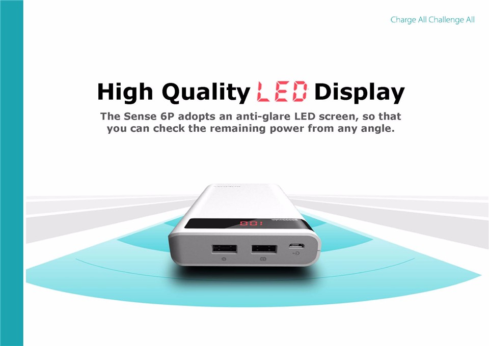 000mAh ROMOSS Sense 6P Power Bank Dual USB Portable External Battery With LED Display Fast Portable Charger For Phones Tablet 6