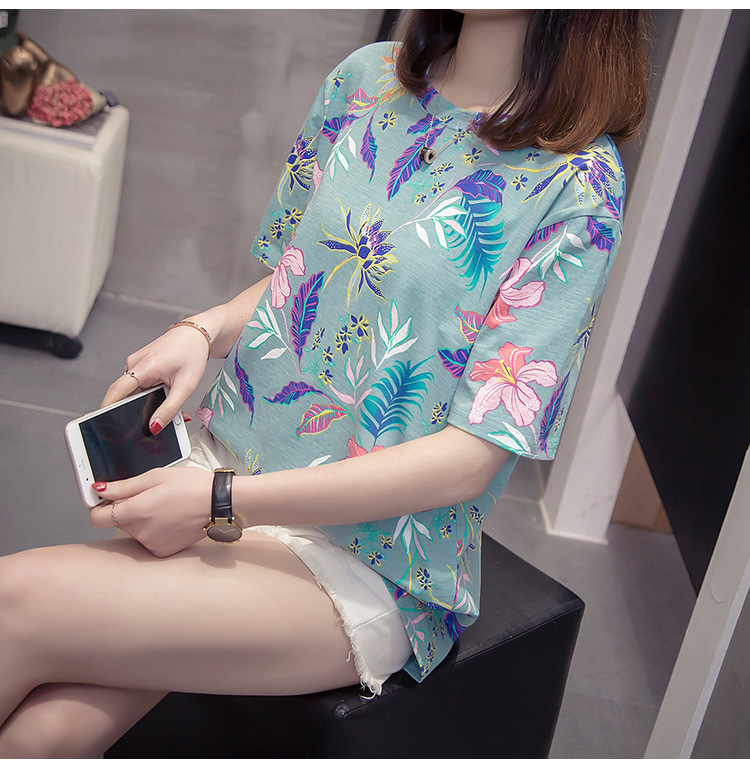 Nkandby Flower Print Summer T-shirt For Woman Fashion Casual Short sleeve Ladies Tshirt 2019 New Bamboo Plus size Basic Tops 4XL 18