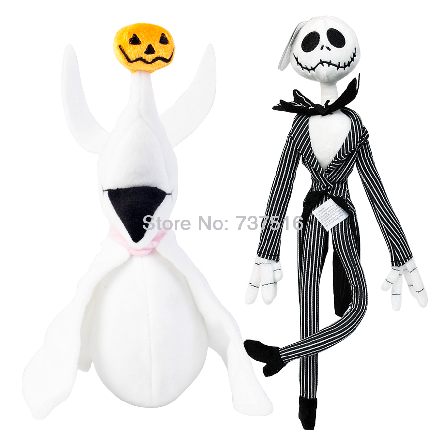 The Nightmare Before Christmas Stuffed 12.5'' Jack Plush & 8'' Skellington's ghost Zero dog Halloween Pumpkin nose Soft Toy 2pcs womens printed halloween leggings the nightmare before christmas cosplay leggin jack and sally slim design workout girls pants