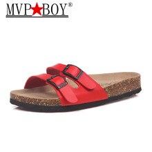 MVP BOY 4 color Fashion Summer Cork Slipper Sandals Women Casual Beach Mixed Color Flip Flops Slides Shoe Flat With Plus Size 35 цены онлайн