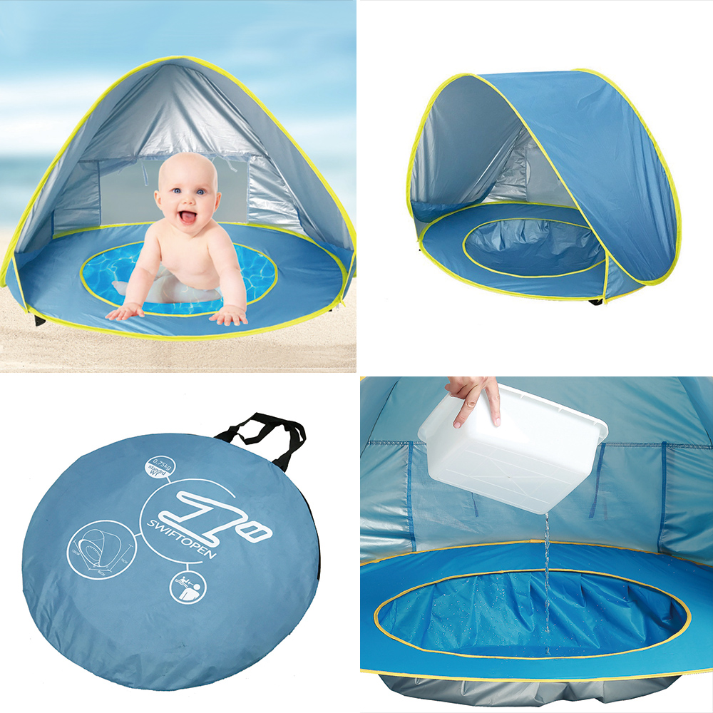 Baby Beach Tent Portable Outdoor Beach Pool Playing House Uv-protecting Sunshelter With Pool Waterproof Pop Up Awning Tent