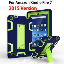 Fuego Kindle 7 Caso 2015 Niños Seguros Armadura Resistente A Prueba de Golpes Cubierta de silicona PC de la Tableta Del Caso Del Soporte Para Amazon Kindle Fire 7 pulgadas