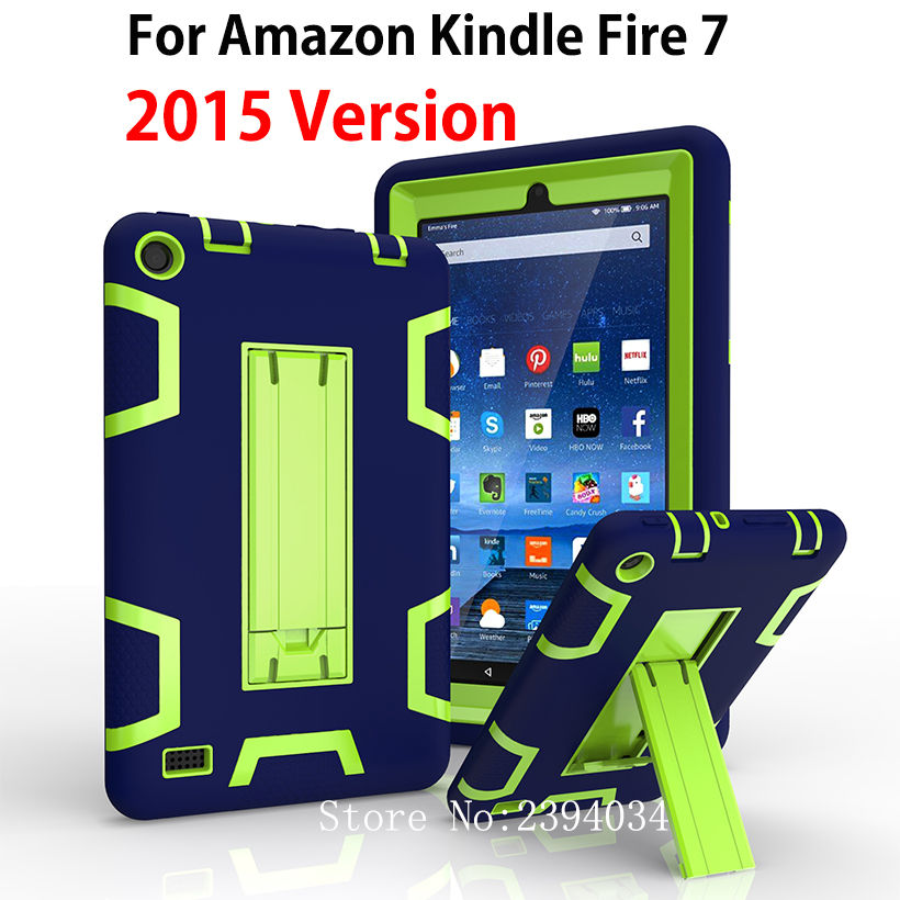 Kindle Fire 7 Case 2015 Kids Safe Armor Shockproof Heavy Duty Silicone PC Tablet Stand Case Cover For Amazon Kindle Fire 7 inch image