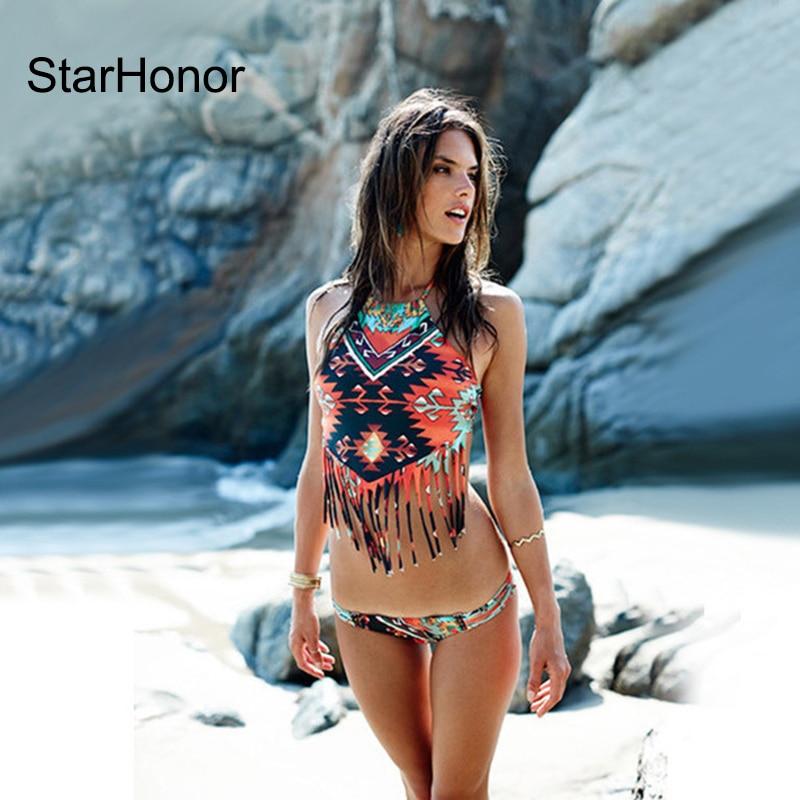StarHonor Summer Style Bohemia Bikinis Set Tassle Trajes de dos - Ropa deportiva y accesorios - foto 1