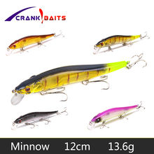 Купить с кэшбэком CRANK BAITS Lifelike Minnow Fishing Lure 12cm 13g Crankbait Hard Bait Tight Wobbler Jerkbait Treble Hooks Plastic Isca Fish YB66