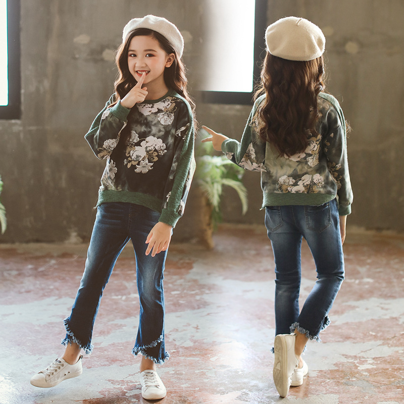Girls Clothing Set T Shirt + Jeans Autumn Suit Kids Sport Suit Baby Girl Floral Print 2Pcs Sets Teenage Girls for 3-14Yrs CA172 fashion girls clothing sets for spring baby girl sets cotton floral 3pcs suit set flower coats shirts jeans cool girls outfits