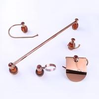 Rose Gold Luxury bathroom hardware set 5 items in one set towel ring towel bar paper holder soap dish holder
