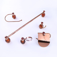 Rose Gold Luxury bathroom hardware set 5 items in one set towel ring towel bar paper holder soap dish holder
