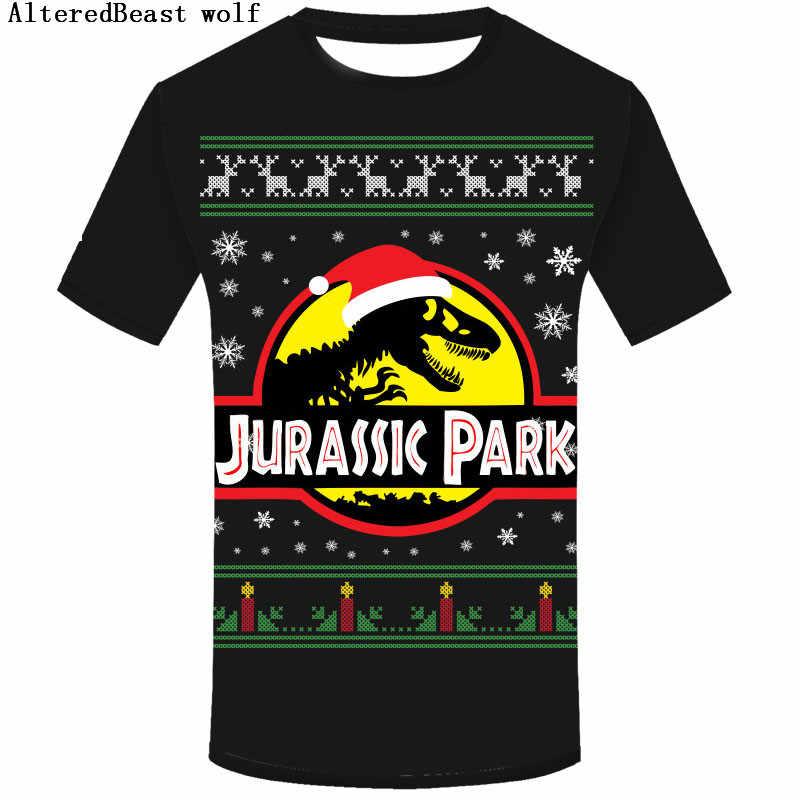 cd02f56c3f5 Jurassic Park T Shirt Men O neck Short Sleeve christmas shirt men ...