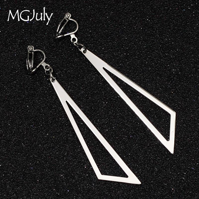 Metal Triangle Earring No Hole Ear Clips Simple Geometric Triangle Clip Earrings Without Piercing Women Earring Jewelry CE135