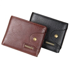 Men Design Short Small Wallets Male Mens PU Leather Brown With Coin Pocket Card Holder Wallet