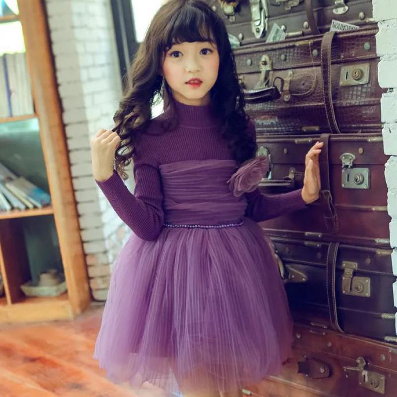2018 Teenage Girls Dress Spring Winter Toddler Baby Girls Long Sleeve Dresses Children Pink Dress Princess Kids Party Dresses 14 2016 spring winter children baby kids girls stripe princess lace mesh dress girls fall sleeveless dresses kids dresses for girls
