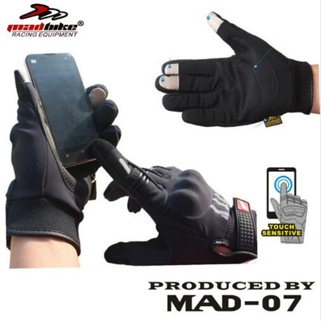 4145169e8f2 Full Finger Motorcycle Glove City Cycling Guantes Motorbike Gloves Iphone  Touch Design Brand Madbike Mad-07