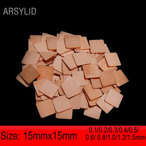 ARSYLID 10 pcs/lot 15mmx15mm Pure copper Heatsink Cooling Copper Shim Thermal Pads for Laptop GPU VAG Pad