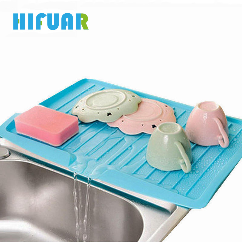 Hifuar 1PC Plastic Draining Holder Kitchen Shelf Sink Dish Bowl Drip Racks Filter Plate Storage Rack Drain Board Organizer