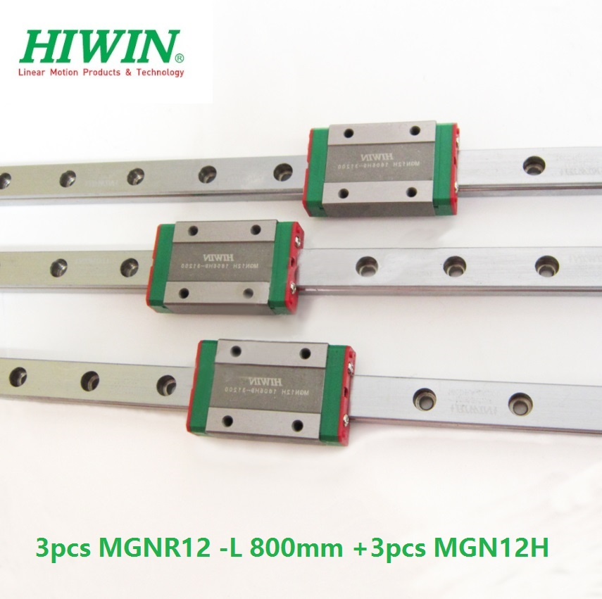 3pcs Taiwan Original HIWIN linear guide rail MGNR12 -L 800mm + 3pcs MGN12H blocks for 12mm mini CNC kit MGN12