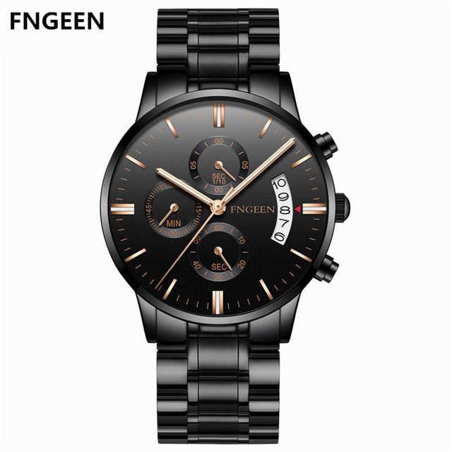 FNGEEN Men's Watches Black Stainless Steel Wristwatch Calendar Men Watch Luxury