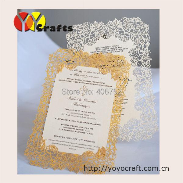 design delicate paper laser cutting invitation card wedding menu card
