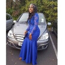 Lange prom kleider 2016 sheer o-ansatz applique long sleeve bodenlangen stretch satin royal blue mermaid prom dress
