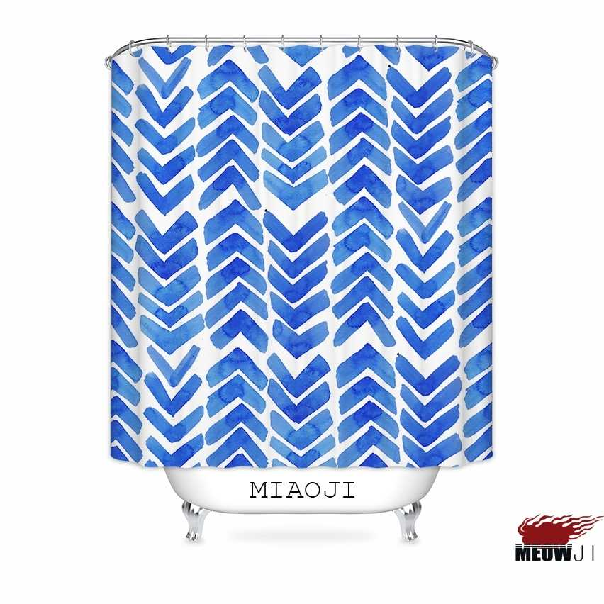 [MIAOJI] Pola Geometris Trendy <> Cat Air Kesepian Biru kustom Shower Curtain Kamar Mandi decor berbagai ukuran Gratis Pengiriman