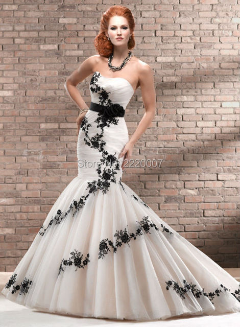 Mermaid wedding dress ky27 white with black flowers wedding dress mermaid wedding dress ky27 white with black flowers wedding dress sweetheart none floor length mightylinksfo