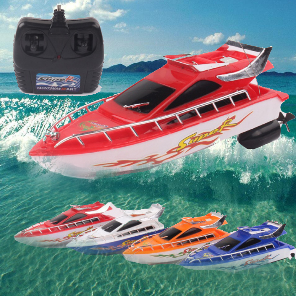 Pools Battery Powered Wireless Electric Kids Lakes Mini RC Boats Aquatic Toys Remote Control Adults Racing Speed Random Color image
