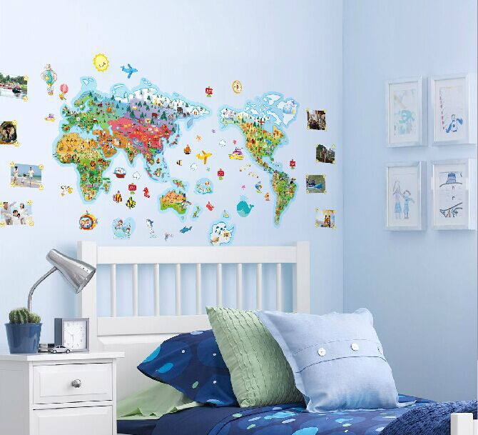 Rice cartoon world map of the world large children real cartoon decoration <font><b>wall</b></font> <font><b>stickers</b></font> wallpaper world map for kids <font><b>wall</b></font> rooms