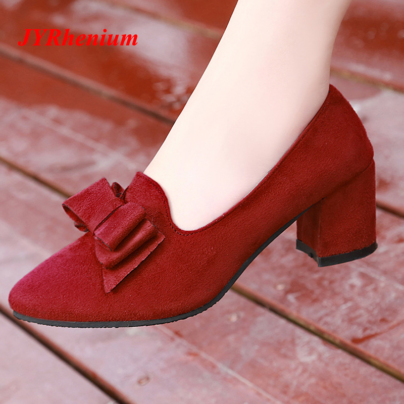 JYRhenium 2018 New Plus Size 33-41 Bow Heels Sweet Party Shoes Wedding Pumps Female Ladies Shoes Thick Heel Shoes Red Black Blue camel shoes ladies sweet bow sheepskin shoes elegant ladies increased within shoes soft surface a93194626