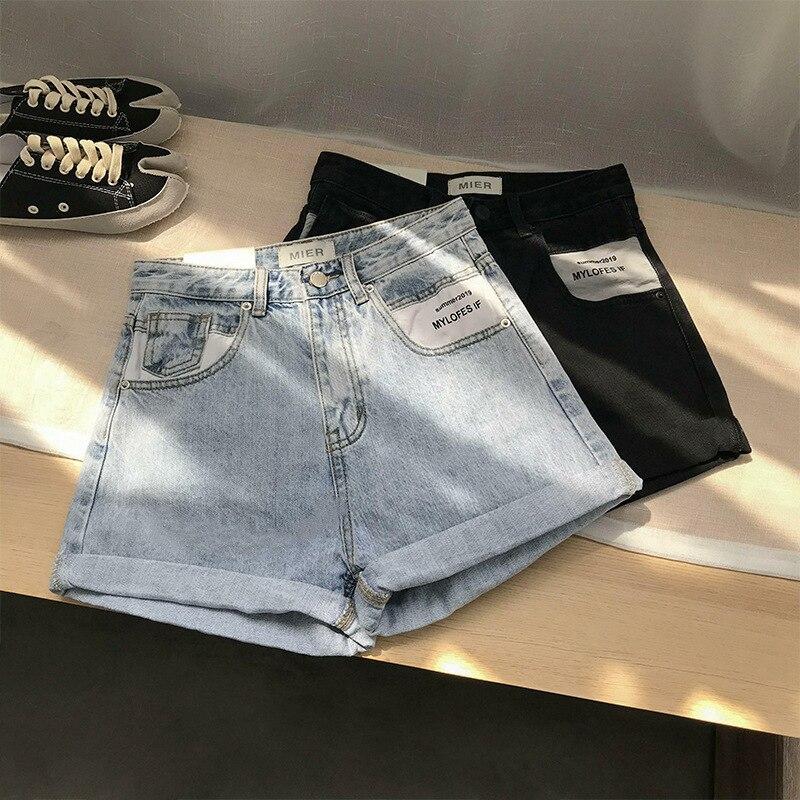 2019 Spring Summer Fashion Korean   Shorts   Bottom Feminino Cowboy High Thin Tight With Belt Black Gray Straight   Shorts   Hotpants