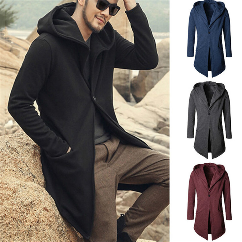 Cosplay autumn winter men's windbreaker dark black tuxedo jacket jacket fashion personality hooded sweater Sweatshirt medieval m
