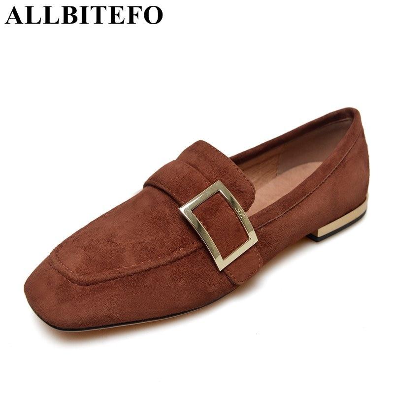 ALLBITEFO square toe Nubuck leather low-heeled women flats Comfortable shoe sole Lok Fu shoes office ladies shoes girls shoes тенты  зонты lok fu 20018