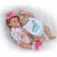 NPK 50cm Soft Silicone Bebe Reborn Twins Dolls Realistic Handmade baby alive boneca bathable Dolls Kids Toys playmates