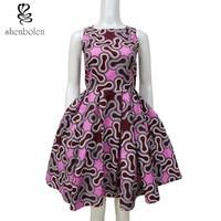 summer 2017 African dresses for women Ankara wax batik printing sleeveless after back bowknot hollow out fashion dress cotton