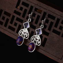 wholesale purple crystal earring natural moonstone 925 Silver earrings for women fashion jewelry accessories gift female