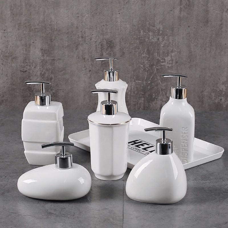 Travel Bathroom Ceramics Shampoo Liquid Soap Dispenser Shower Gel Kitchen Bottle Soap Dispenser Lotion Home Portable Pump