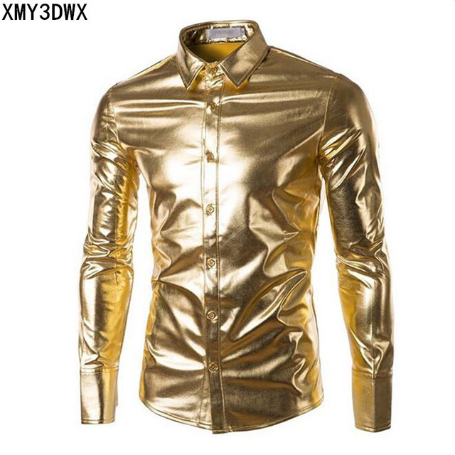 New 2017 Men's Trend Night Club Coated Metallic Halloween Gold Silver Button Down Shirts Party Shiny Long Sleeves Dress Shirts