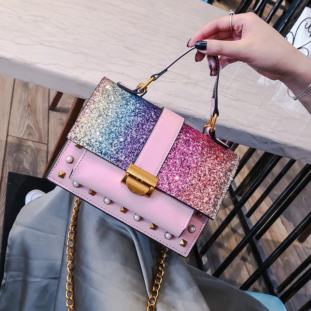 2019 New Arrival Women Handbag Wild Messenger Bags Shining One-Shoulder Small Square Bag For Women Luxury Party Shoulder Bag