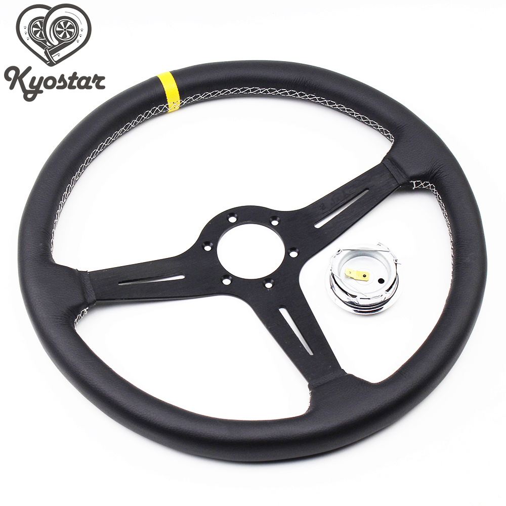 Universal 15 inch ND Racing Car Steering Wheel with Black Gumetal Spoke 380mm Classic Leather Steering Wheel with ND Horn new 320mm yellow pvc sport spoke car racing steering wheel carbon firbre horn button ep fxp06om p