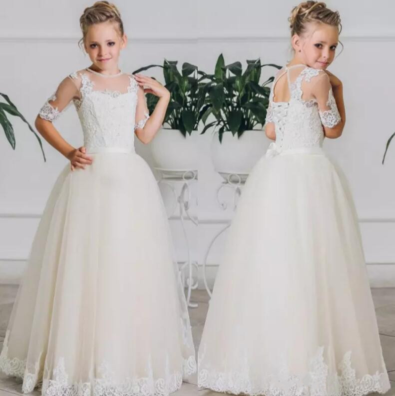 Custom Made 2017 Flower Girl Dress Lace Applique Half Sleeve Ankle Length Girls Holy Communion Dress Any Size plus size stripe half sleeve sheath dress