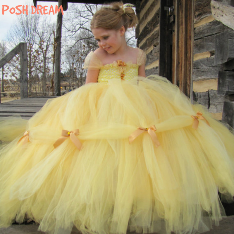 POSH DREAM Beauty and The Beast Belle Princess Girls Cosplay Costume Yellow Gold Belle Princess Children Girls Tutu Dresses glittery girls tutu dress elsa belle princess dress girls party dresses pageant gowns baby kids cos beauty and the beast costume