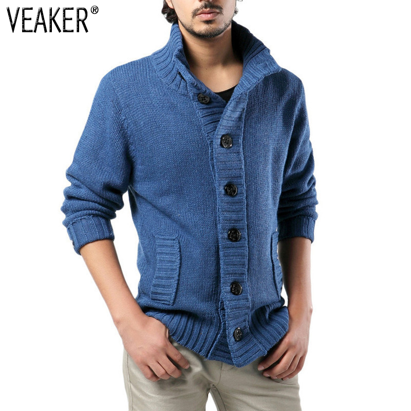 Coat Jacket Sweater Cardigan Slim-Fit Knitted Male Autumn Men's Winter Casual Stand-Collar