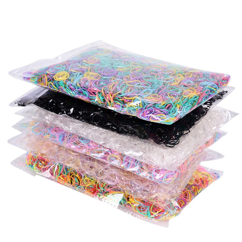 3000pcs/bag  Baby TPU Hair Holders Rubber Bands Elastics Girl's Tie Gum Stationery Holder Band Loop School Office Supplies