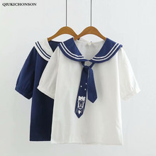 Womens Shirts Japanese School Preppy Style Sailor Collar Moon Print Necktie Summer Shirt Short Sleeve Blouses camisas