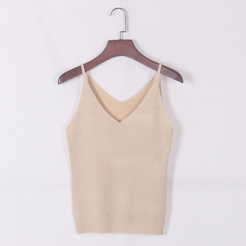 Sexy Women V Neck Sleeveless Knitted Tops Shirt Spaghetti Strap Short Tops H34