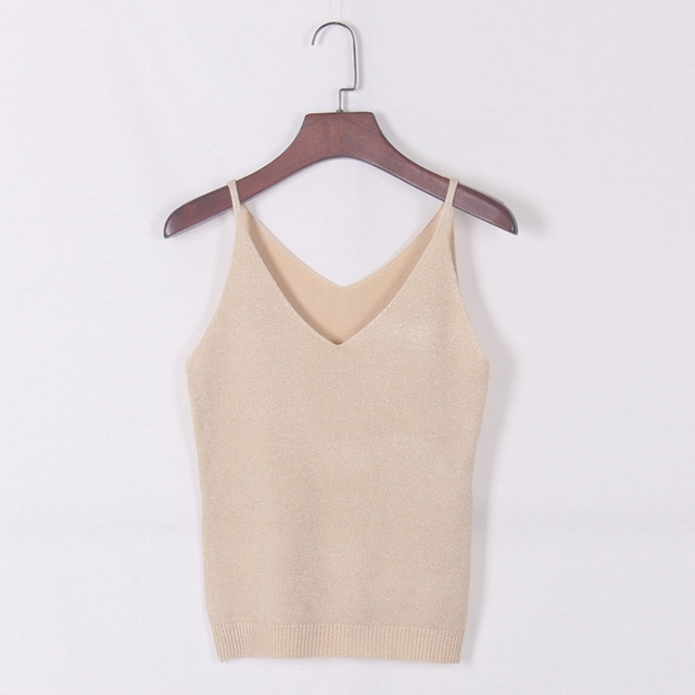 Sexy Women V Neck Sleeveless Knitted Tops Shirt Spaghetti Strap Short Tops H34
