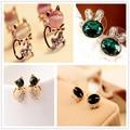 Модные серьги-гвоздики в виде ананаса в виде животных милая кошка, кролик, дизайнерские серьги для женщин, серьги серебристого и золотого цвета, оптовая продажа - фото