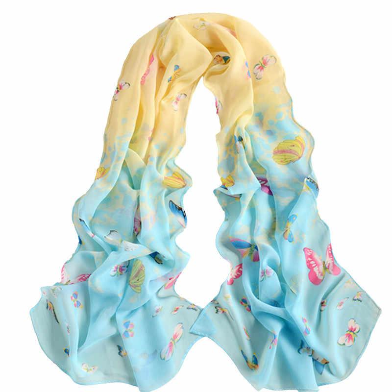 ホット販売ソフトシフォンスカーフ蝶フラワープリントスカーフ女性ロングショール女性 Scarve ラップファッション大サイズ 160*50 センチメートル