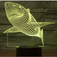 3D LED Night Lights Shark With 7 Colors Light For Home Decoration Lamp Amazing Visualization Optical
